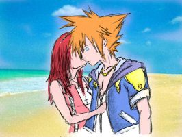 Kingdom Hearts Sora And Kairi by Final-Ary