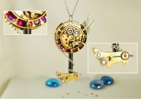Steampunk 'Keyblade of Time' Pendant Necklace by Henri-1