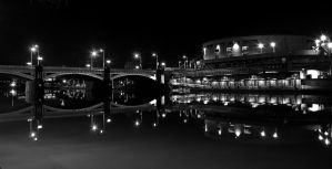 Princes Bridge BW Night by DanielleMiner