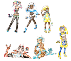 Pokemon Gijinka Dump 37 by BlueRoseArkelle