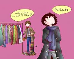 Sherlock, The Doctor and a scarf. by ice-cream-skies