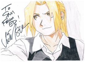 Edward Elric signed by Vic Mignogna by sam-the-sketch-man