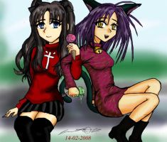 Rin and Chatte by krow000666