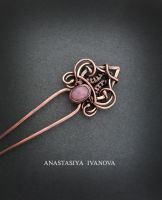 hairpin with rhodochrosite by nastya-iv83