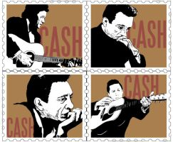 JOHNNY CASH Postage Stamps WIP by Your-Private-Eye