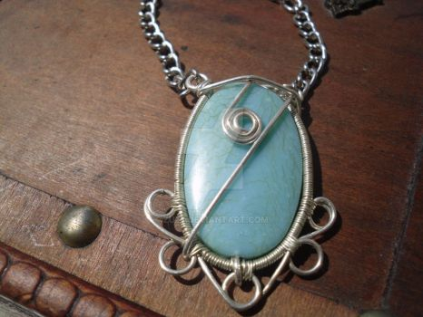 turquoise wire pendant by ZuZ7