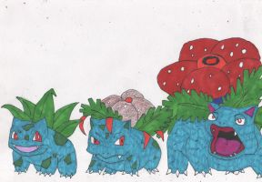 Odd  Bulbasaur Family by DelphiniumFleur