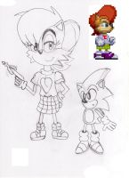 Sally Acorn In STC/fleetway Amy's clothes by ClassicSonicSatAm