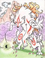 Amaterasu and Issun by Ookami-Aoiro