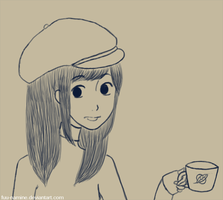Coffee Girl -no color- by fuu-namine