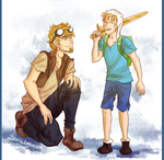 with Jake the human by Demoniica