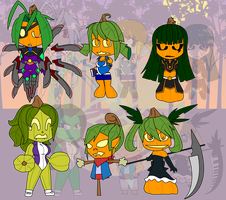 Assorted Chibis - Halloween in the Pumpkin Patch by Dragon-FangX