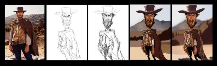 Clint Eastwood caricature 2 - Step by step. by Steveroberts