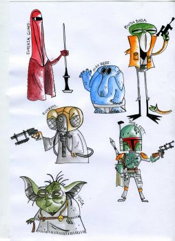 Star Wars Cartoon Water Colour Drawings #2 by Jordan1Kenobi