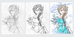 Elsa in process by LadyAstrogah