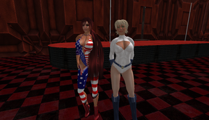 PowerGirl and PatriotGirl 1 by leahsapphire