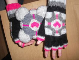 Companion Cube Gloves by foxymitts