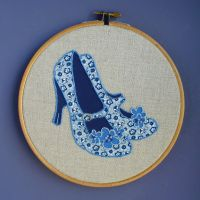 Blue Flowery Shoes by Debbiemade