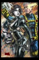 Domino and Cable colored by hanzozuken