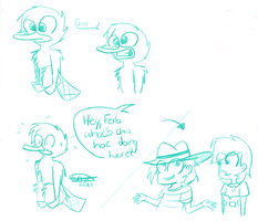 Perry, Phineas and Ferb sketch by Pinky1babe