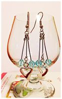 Baby Blue and Heart Dangle Earrings by CjiadonBast
