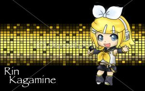 Rin Kagamine in chibi form by IfreakenLoveDrawing
