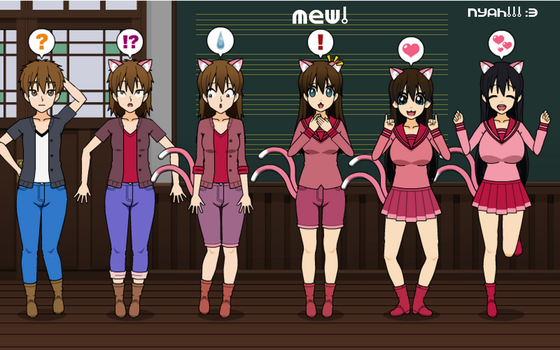 Nyeko Academics! School Catgirl TF TG Sequence by greenflame456