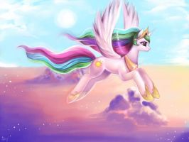 Young Celestia: Soaring through the Heavens by Sukesha-Ray