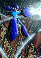 Classic MegaMan Over City by MegaPhilX