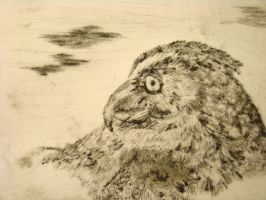 Great horned owl Intaglio cut by KardiaArgeei