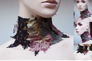 Autumn leafs wide neck collar 2 by Pinkabsinthe