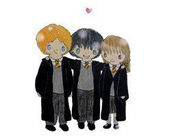 Harry, Ron and Hermione by JellyLoveHeart
