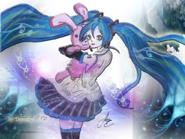 Miku Squeezing Bunny by Dorothy-of-Oz