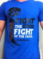 Mens-Fight The Fight-BLUE by CoveredNTheWORDcom