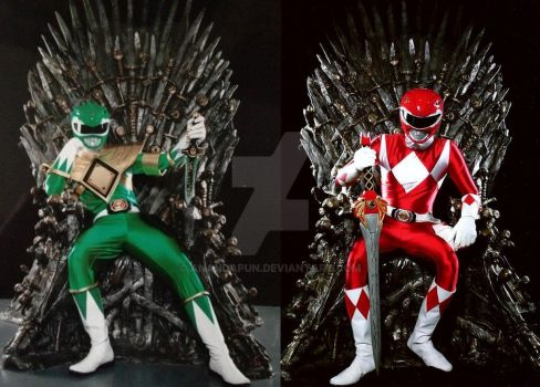 Green ranger and red ranger sharing thrones lol by anandapun