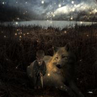 Dire Wolf and The Littlest Knight by JohnnyMalkavius