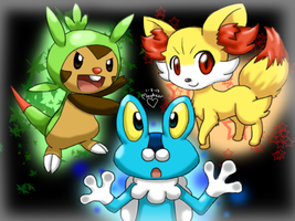 Pokemon X and Y Starters by MewSugarSnow