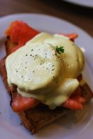 Egg benedict with smoked salmon by imperidal