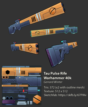 Tau Pulse Rifle - Low-Poly by GuildencrantzGW