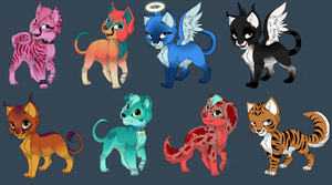 Puppy and Kitty adopts set 1 5/8 by MotionlessGamer