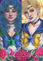 Pretty Guardians Sailor Neptune and Sailor Uranus by Verlisaerys