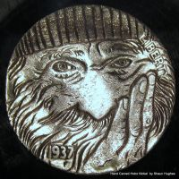 'Old Timer' Hobo Nickel Coin Carving by shaun750