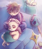 Kennen and Teemo Snuggles by RinTheYordle