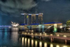 Marina Bay Sands and Merlion by chrisjmonteiro