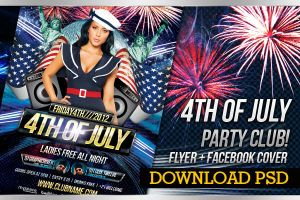 4th of July Party Flyer + Facebook Timeline Cover by LouisTwelve-Design