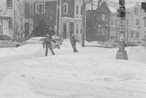 2015 January Blizzard,Snow Football Play and Catch by Miss-Tbones