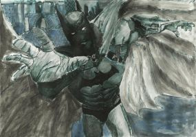 Batman (ink + watercolor) by VarrenUnicorn