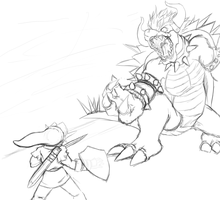 Challenger's Edge: Link vs Giga Bowser (Sketch) by SiscoCentral1915