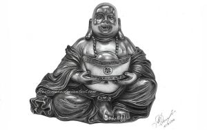 Happy buddha in pencil by Rustamova
