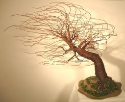 MIGHTY WIND SWEPT, Wire Tree Sculpture by SalVillano